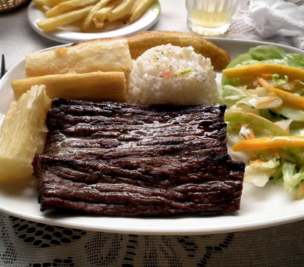 Dish of Colombian Carne Oread with French fries