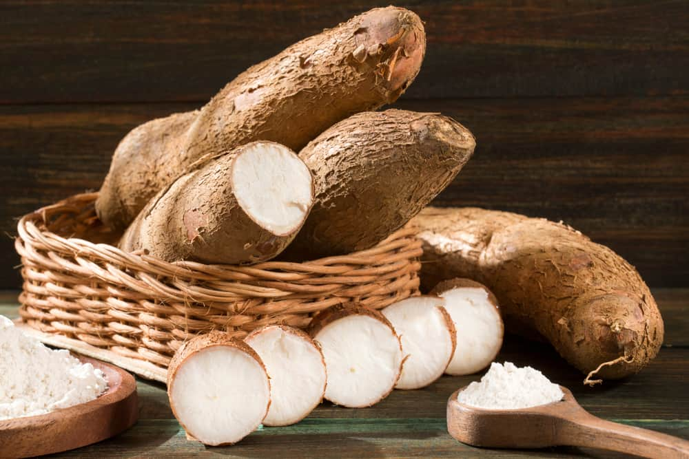 Sliced and Whole Yucca Cassava Root in Basket