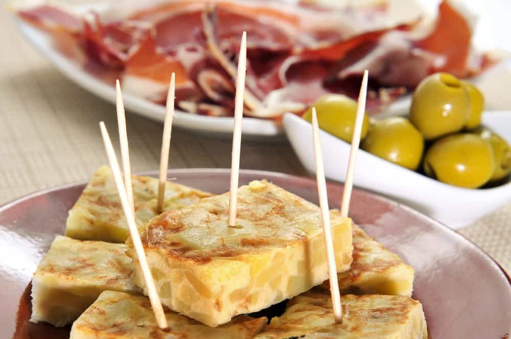 Spanish Tortilla Tapa served with toothpicks