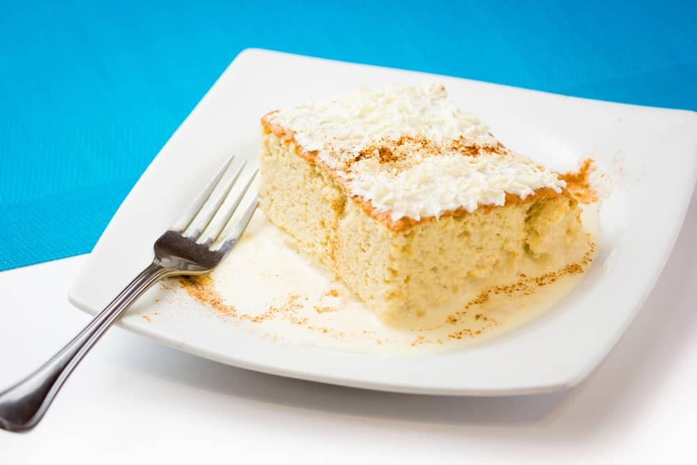 Plate and fork with tres leeches piece of cake