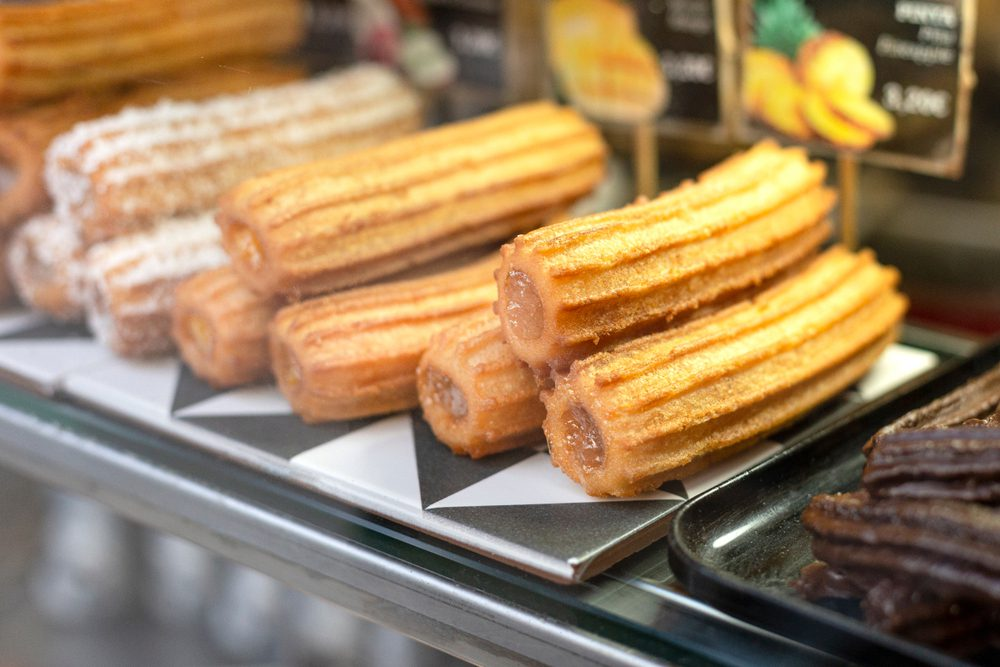 Argentinian churros in a panaderia window