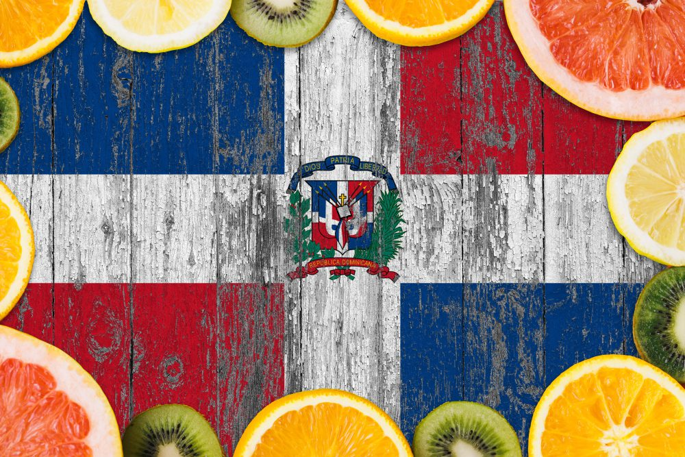 Dominican Republic Fruits sliced around Dominican Flag