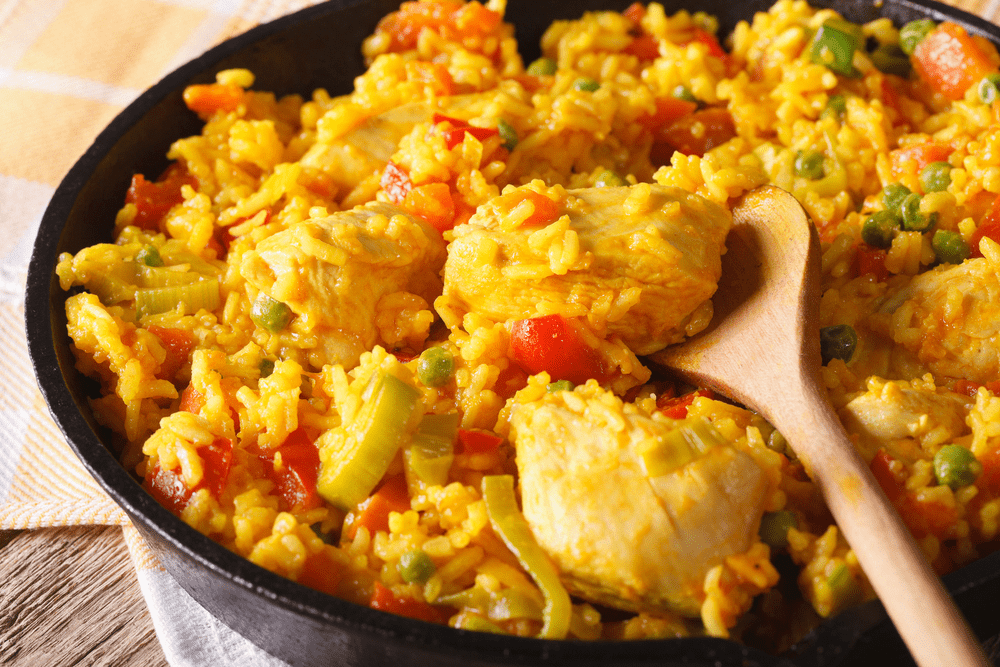 Chicken Paella served in a paella pan
