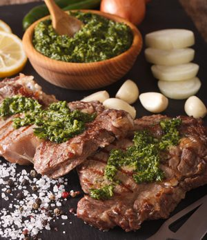 Two cuts of Argentinean beef with chimichurri sauce