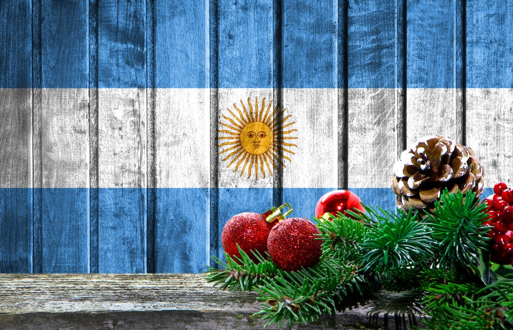Argentina Flag with Christmas decorations