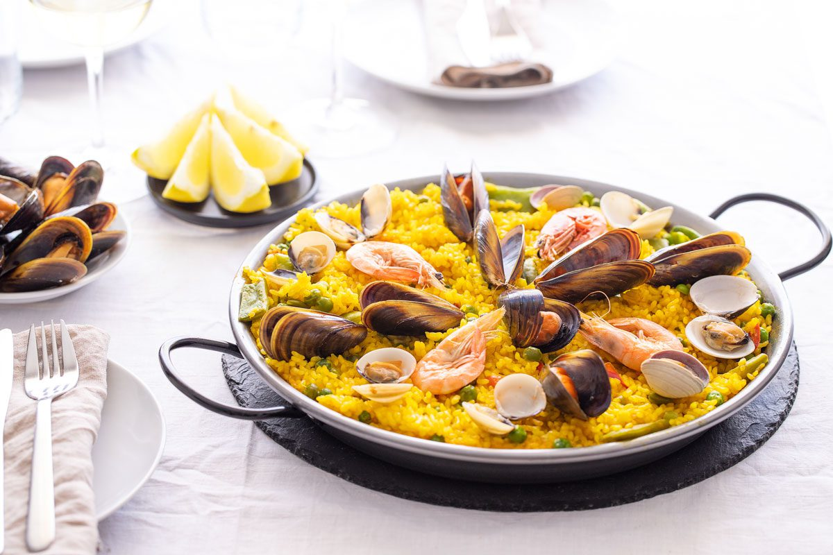 Seafood paella made from bomba Spanish rice