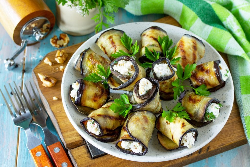 Eggplant with feta cheese rolls vegetarian tapas